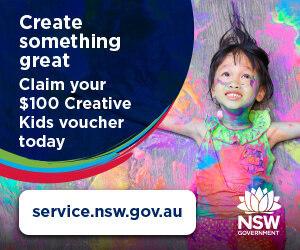 - Create something great. Claim your $100 Creative Kids voucher today.As a registered provider for the Creative Kids program, you can redeem your voucher with us and let your child develop new skills. Enrol them in a new activity so they can create something great.For more information regarding the Creative Kids program visit:  service.nsw.gov.au.