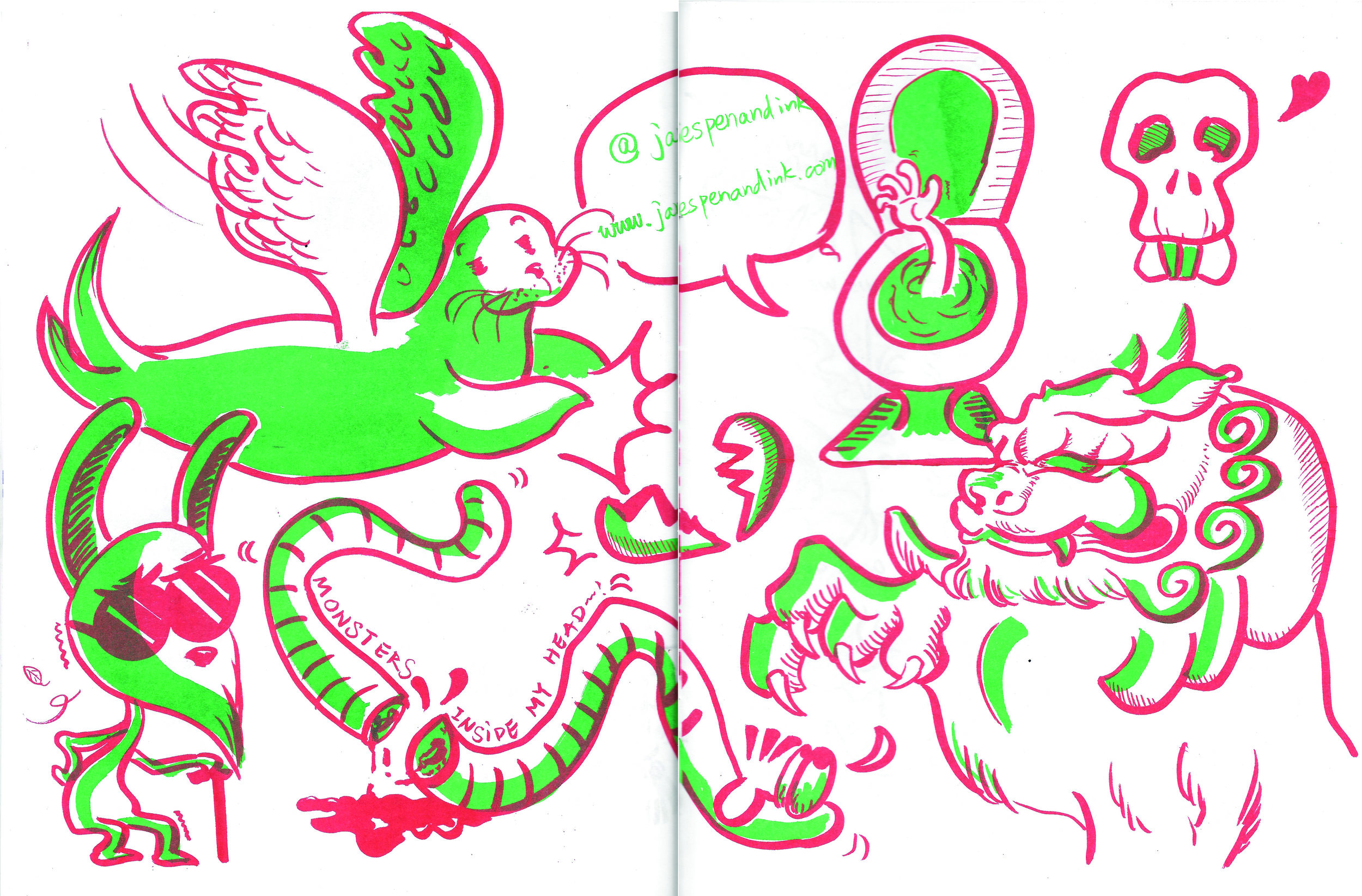 My page in the zine, drawn by hand then scanned.