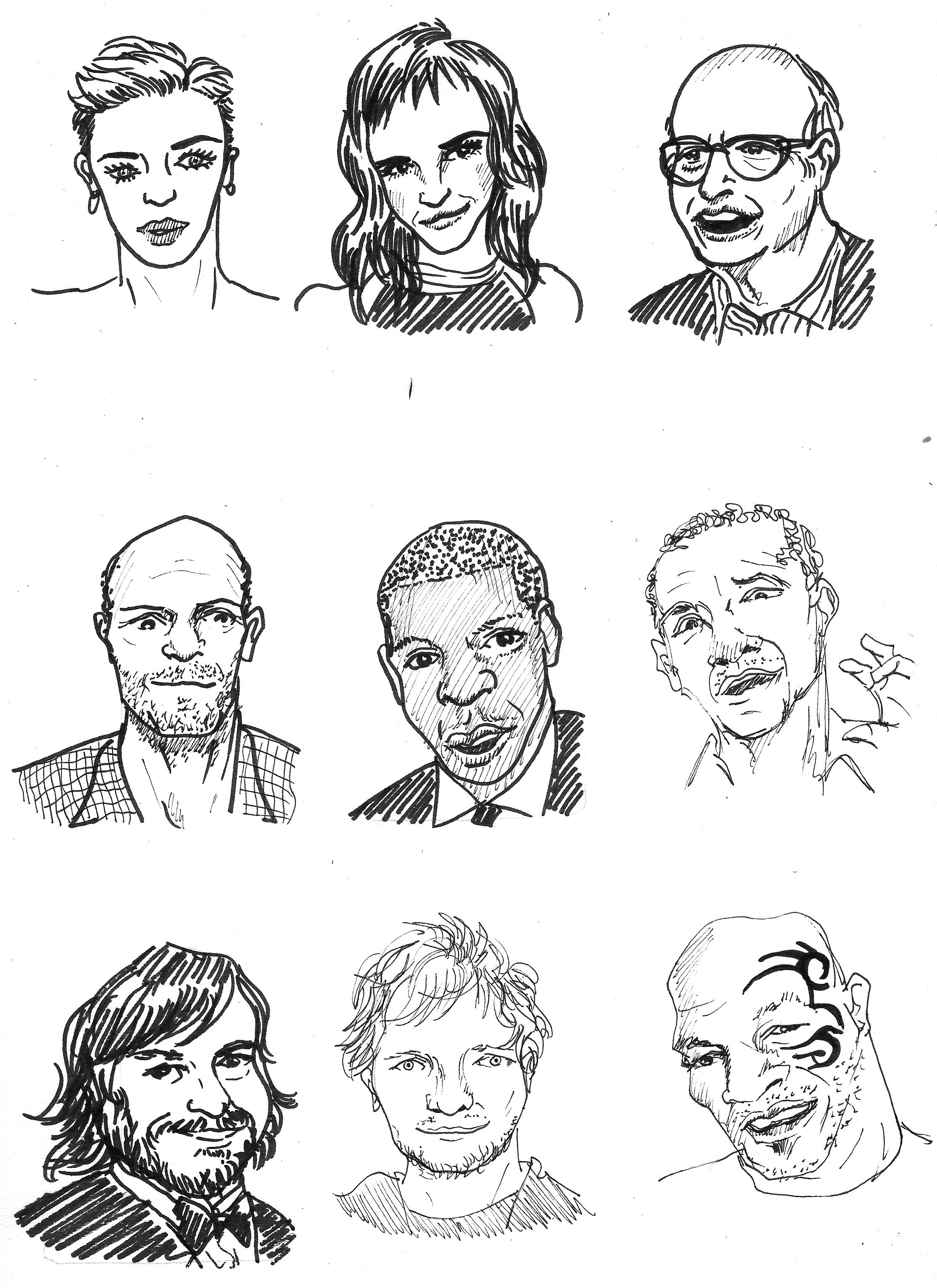 "Each tiny portrait is around 2"" x 3"" and took me around 5-6 minutes to finish, so to fill up a page would take around an hour. It's a perfect daily sketching exercise."