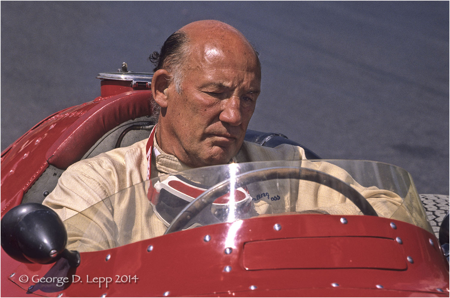 Sterling Moss in a Maserati F1, Vintage Racing, Limerock, CT. © George D. Lepp 2014  T-RA-VI-0004