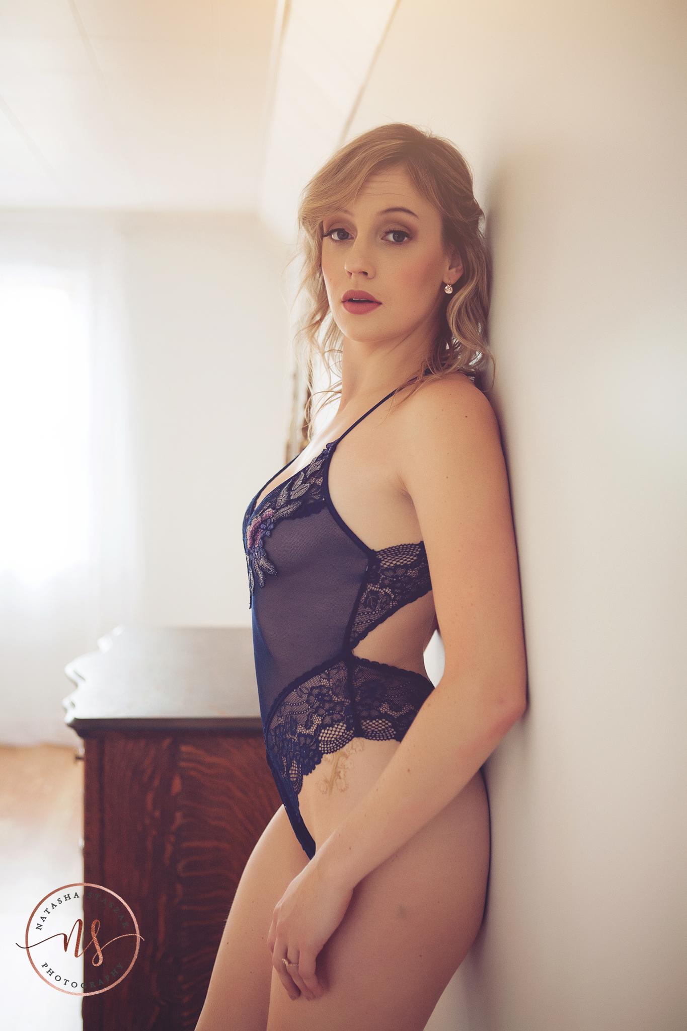 Woman in bodysuit boudoir shoot - Buffalo boudoir Natasha Staszak.