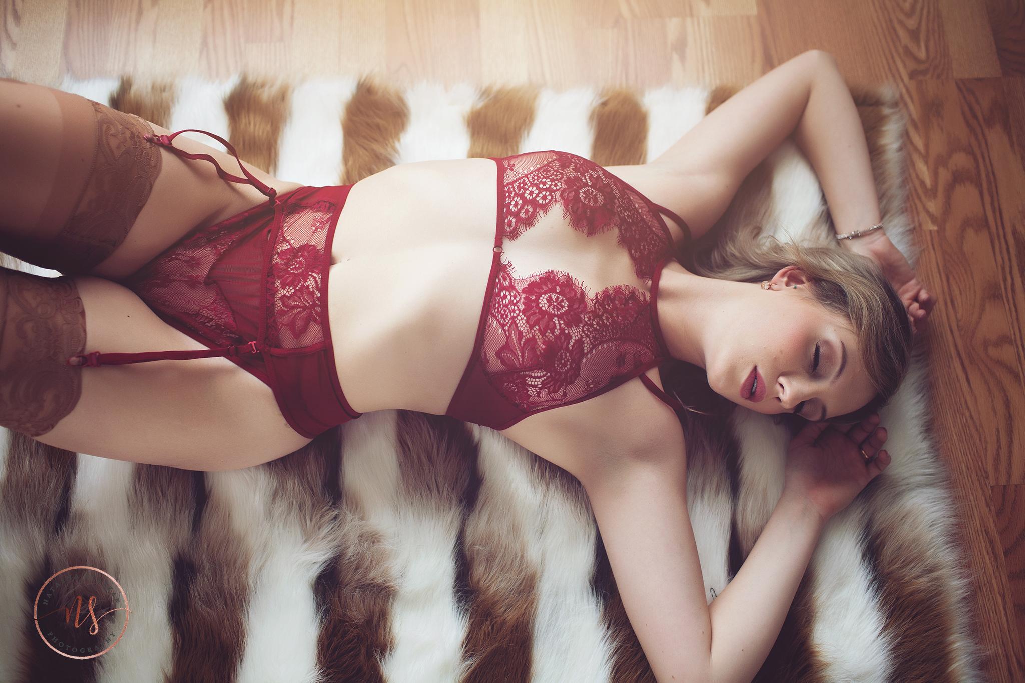 Red lingerie - bridal shoot in Buffalo NY.