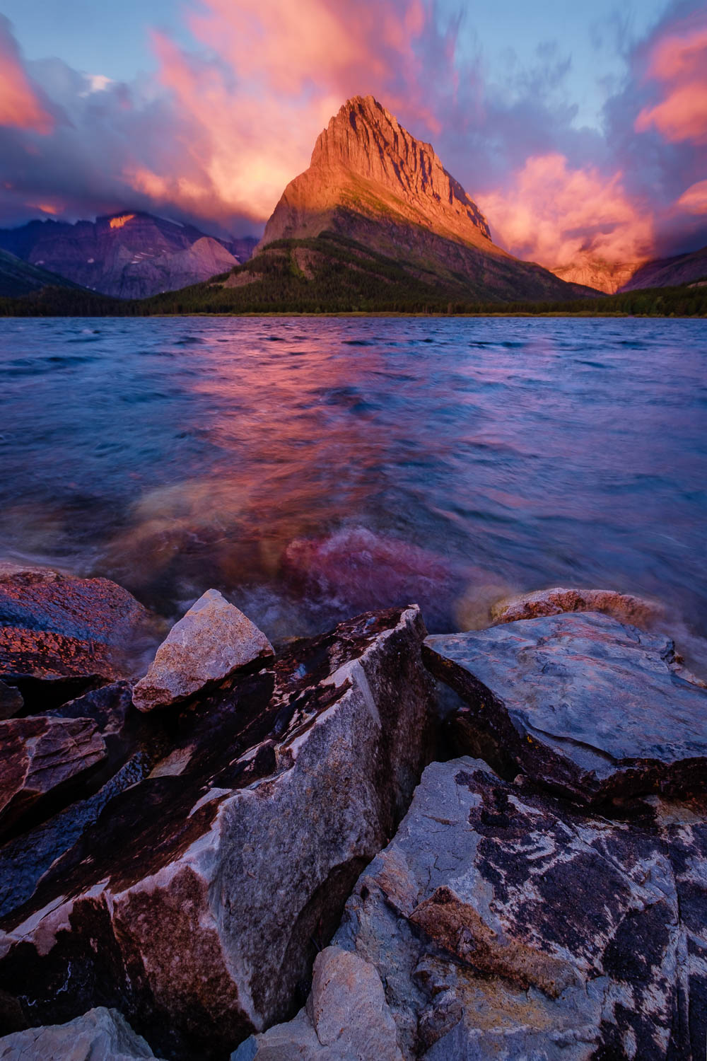 Sunrise at Swiftcurrent Lake