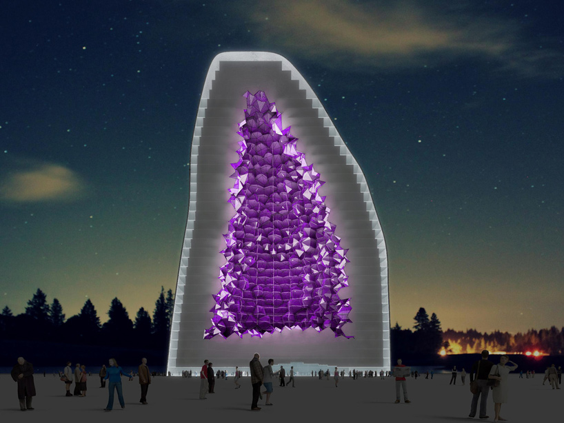 At night, the crystal will achieve a bold and distinctive presence by emitting glowing violet light that will be seen throughout the city.