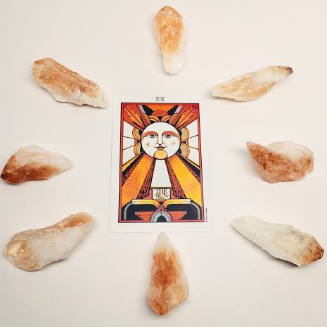 The Sun Card surrounded by Citrine