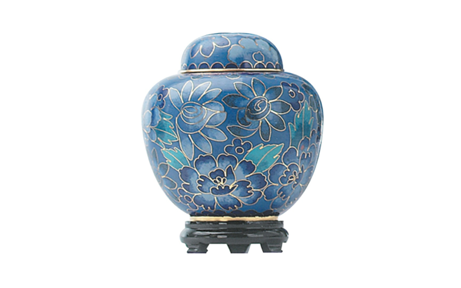 """Blue Cloisonne Keepsake     Made of Brass, this urn's outer shell is composed of intricate metal wiring filled with painted enamel. It measures 2 ¾"""" Dia. x 3 ½"""" H, Black Base 2 ¼"""" Dia. x 1"""" H, 2.5 Cu. inches, up to 2 lbs,  $68"""