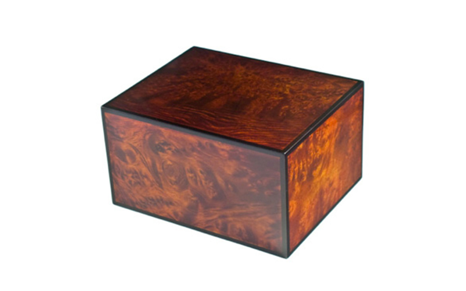 "Montreaux     Montreaux has charmed individuals with its spectacular views of the Alps and picturesque architecture. The lovely rustic burl in a natural finish with black edges captures this region's true beauty and Old World traditions. This urn is available in small and large sizes only.     Small:  29 Cu. inches / up to 24 lbs. / 3.7"" x 3.7"" x 4.5""  $115    Large:  235 Cu. inches / up to 230 lbs. / 9.1"" x 7.4"" x 5.2""  $225"