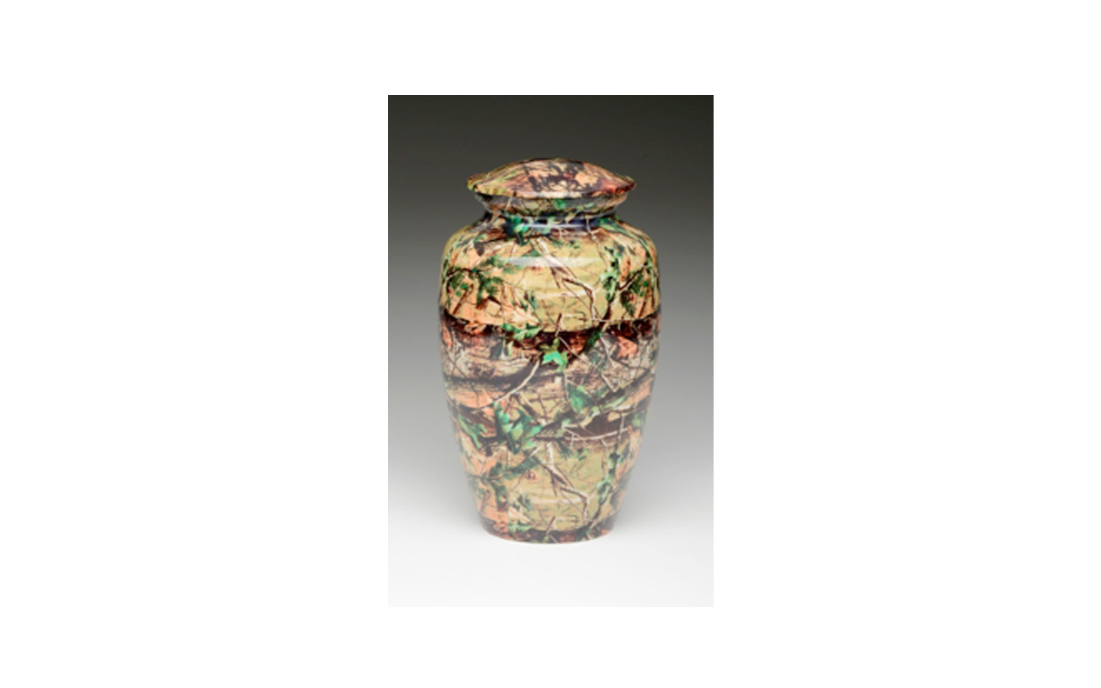 "Mossy Oak Camouflage     This urn displays a ""Camouflage"" Design, which is highly durable and will not fade over time. This urn has a Threaded Lid and comes in Large, Heart Keepsake, and Keepsake (see keepsakes) sizes.      Large:   Measures     6"" D x 10"" H, 200 Cu. Inches, up to 195 lbs,    $145"