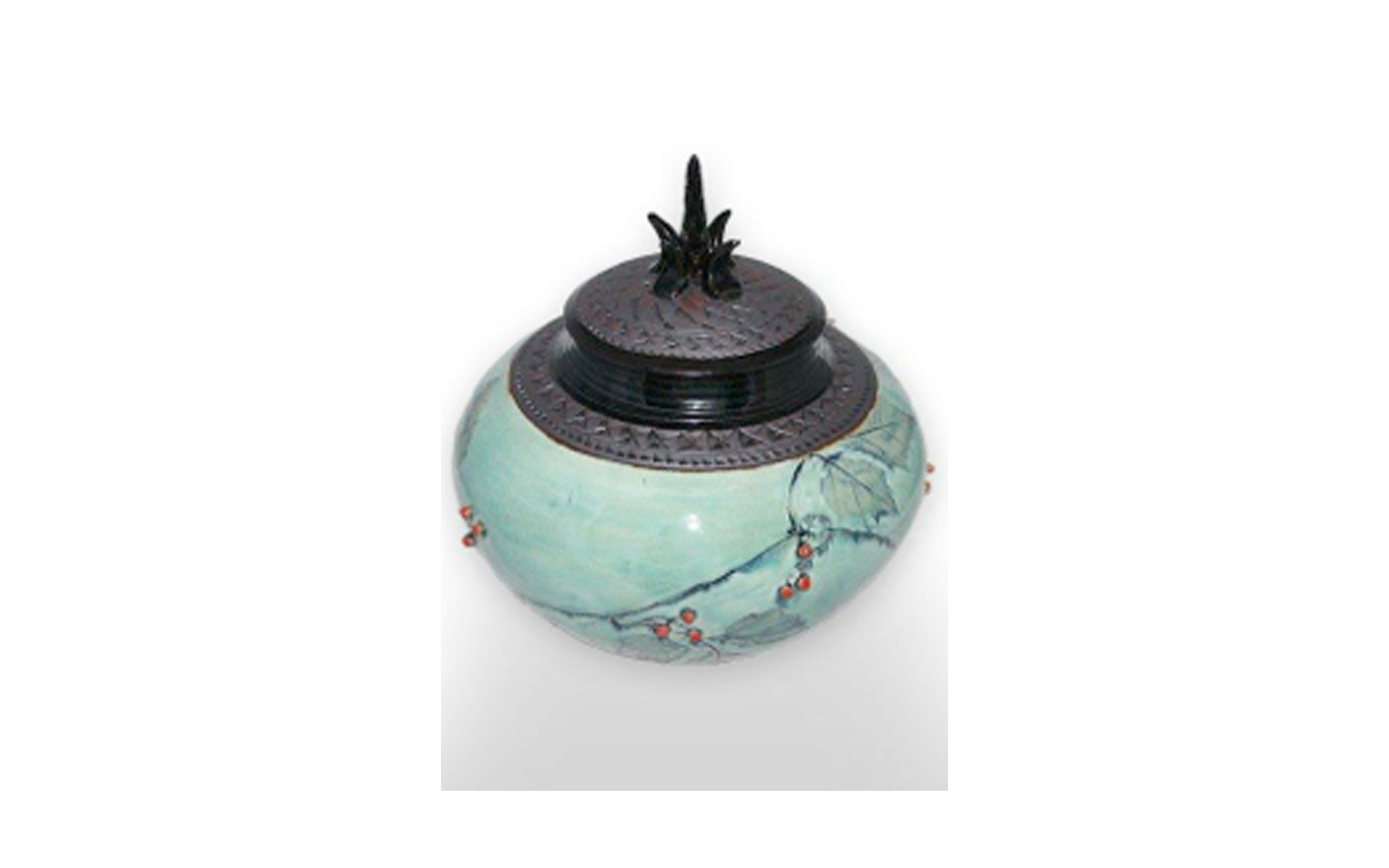 """Royal Oak    This gorgeous urn depicts the beauty of oak trees and ivy leaves. It measures 10"""" L x 10"""" W x 10 ½"""" H, 275 Cu. Inches, up to 275 lbs. $640    *Please Note: Each piece is uniquely made by its Artist resulting in different colors and weight"""