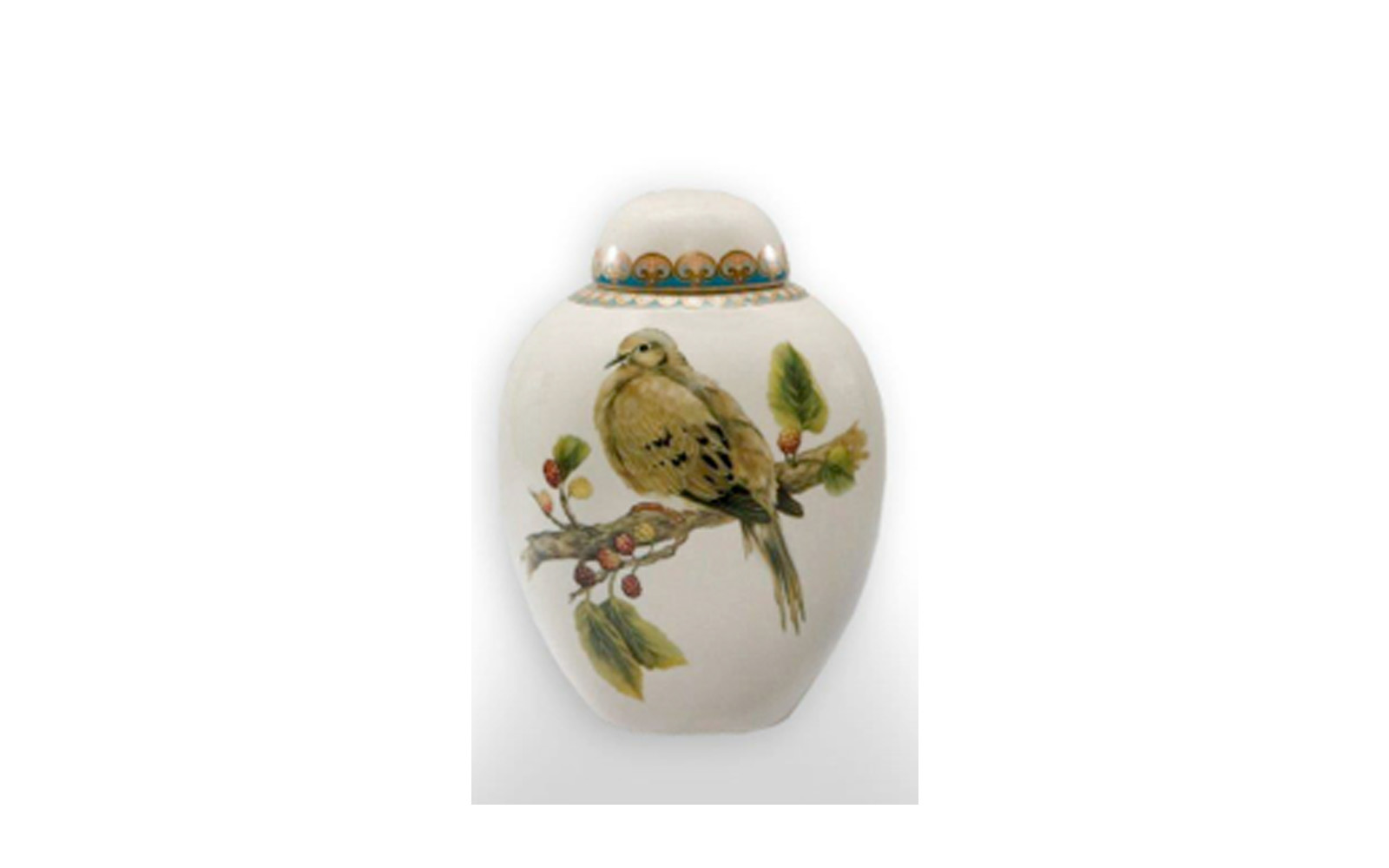 """Avian Ceramic Urn    This ceramic urn presents a peacefulness, beauty, and grace of the bird. This urn measures 5"""" L x 5"""" W x 7 ½"""" H, and holds 75 Cu. Inches, up to 75 lbs. $125    *Please Note: Each piece is uniquely made by its Artist resulting in different colors and weight"""