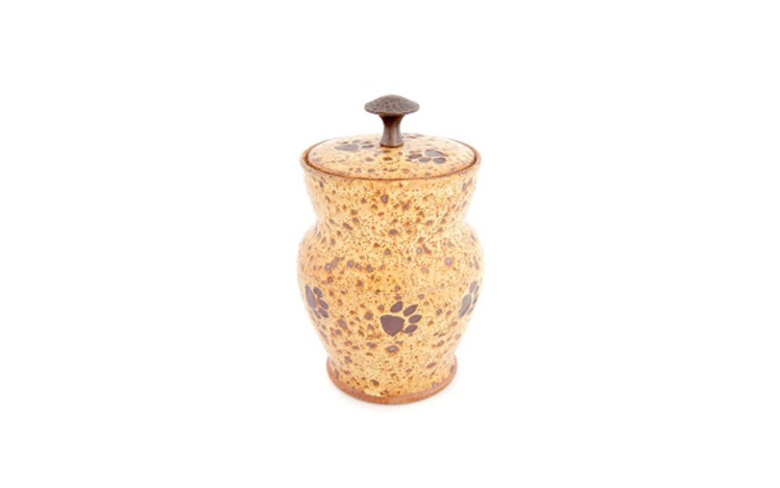 """Spotted Paws Ceramic Pet Urn    This ceramic urn has a Hand Hammered Handle with Brown Paw Prints circling around it. Measuring 4 ½"""" L x 4 ½"""" W x 7 ¼"""" H, 32 Cu. Inches, up to 32 lbs., this urn is truly a wonderful accent piece to any décor. $120    *Please Note: Each piece is uniquely made by its Artist resulting in different colors and weight"""