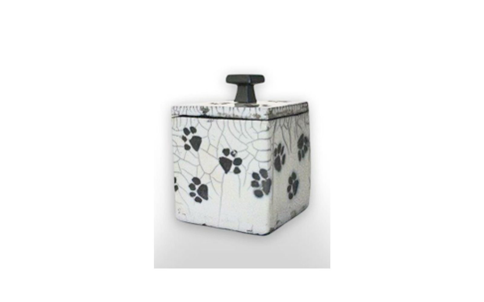 """Playful Paws Square Ceramic Pet Urn    This ceramic urn is a one of a kind Crackled Glazed Cube giving an antique like appearance measuring 4"""" L x 3 ¾"""" W x 5 ¼"""" H, 36 Cu. Inches, up to 36 lbs. $130    *Please Note: Each piece is uniquely made by its Artist resulting in different colors and weight"""