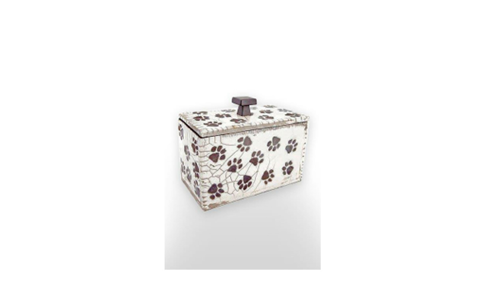 """Playful Paws Rectangle Ceramic Pet Urn    This ceramic urn is a one of a kind Crackled Glazed Box giving an antique like appearance. Measuring 6 ¼"""" L x 3 ¼"""" W x 6"""" H, 81 Cu. Inches, up to 81 lbs. $145    *Please Note: Each piece is uniquely made by its Artist resulting in different colors and weight"""