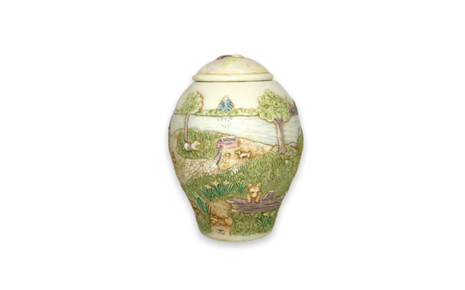 """Heaven's Happy Meadow Small Dog    Hand crafted based upon the popular poem """"The Rainbow Bridge"""" this urn displays peace and happiness. This urn measures, 20 Cu. Inches, up to 20 lbs. $110    *Please Note: Each piece is uniquely made by its Artist resulting in different colors and weight"""