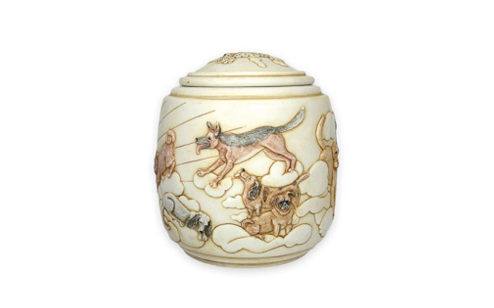 """Eternal Sunshine    This urn displays the beauty of our beloved dogs who have passed and their gracefulness in the peacefulness of the sky, clouds, and sun. This urn measures 5 ½"""" L x 5 ½"""" W x 5 ½""""H, 42 Cu. Inches, up to 42 lbs. $120    *Please Note: Each piece is uniquely made by its Artist resulting in different colors and weight"""