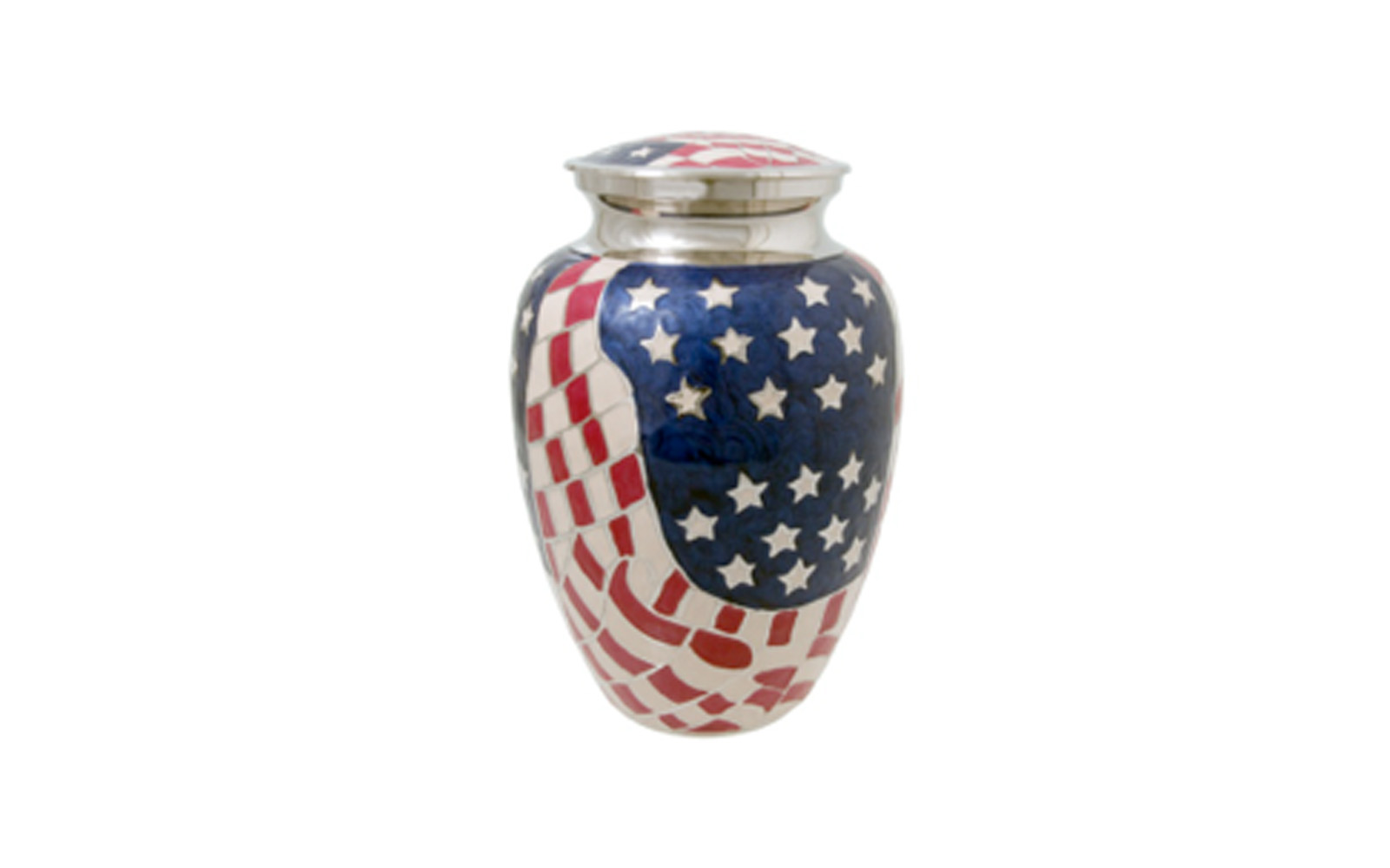 "American Flag Urn     Made of Solid Brass, this patriotic urn measures 6"" W x 10.5"" H, holding 200 Cu. Inches, up to 200 lbs.  $105"