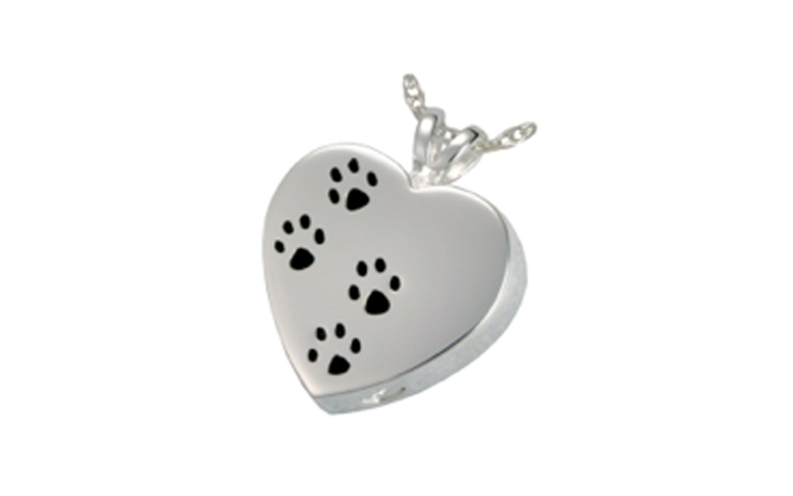 "Paw Prints On My Heart    This pendant is made of Sterling Silver and measures 1"" H x 3/4"" W. It has a screw at the bottom and is designed to hold cremated remains or hair clippings.  Cost of engraving is not included .   $130"