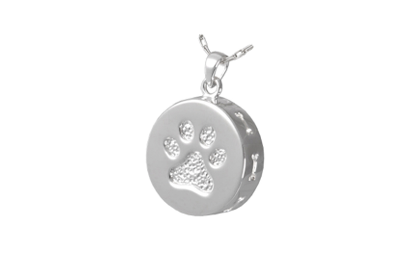 "Paw Print and Bones Urn Pendant    This Sterling Silver pendant has a back screw and is designed to allow you to hold cremated remains or fur clippings. This pendant measures 3/4"" H x 3/4"" W.  Cost for engraving is not included.    $130"