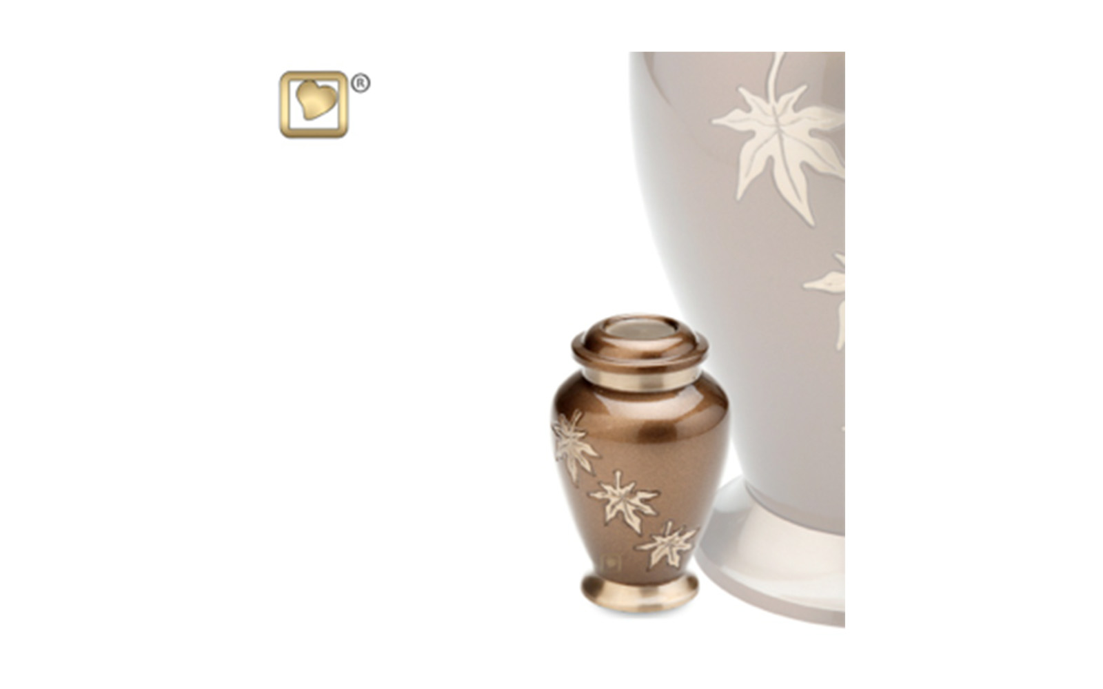 "Keepsake Falling Leaves Urn     Made of Solid Brass with Bronze Finish, measuring 3"" high, 3.5 Cu. inches, up to 2 lbs.,  $45"