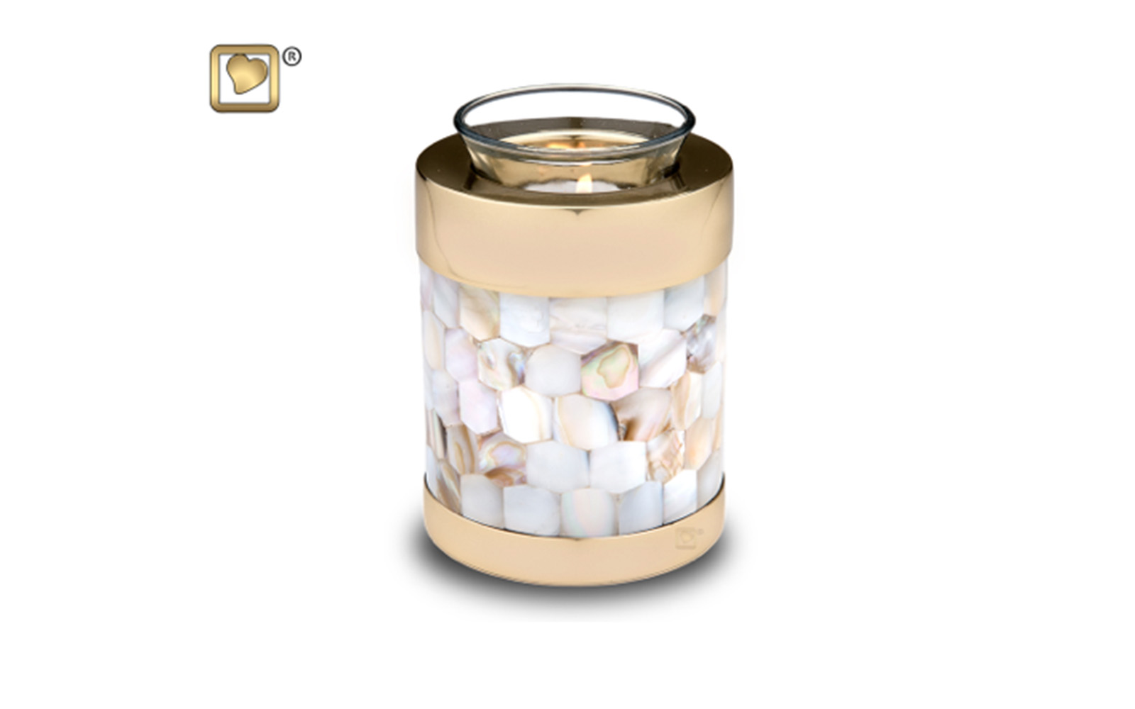 """Tealight Mother Of Pearl Urn     Made of Solid Brass with a Polished Finish, Mother of Pearl Hand Cut, measuring 5"""" high, 18 Cu. inches, up to 13 lbs. Glass Insert included, Candle not included,  $98"""