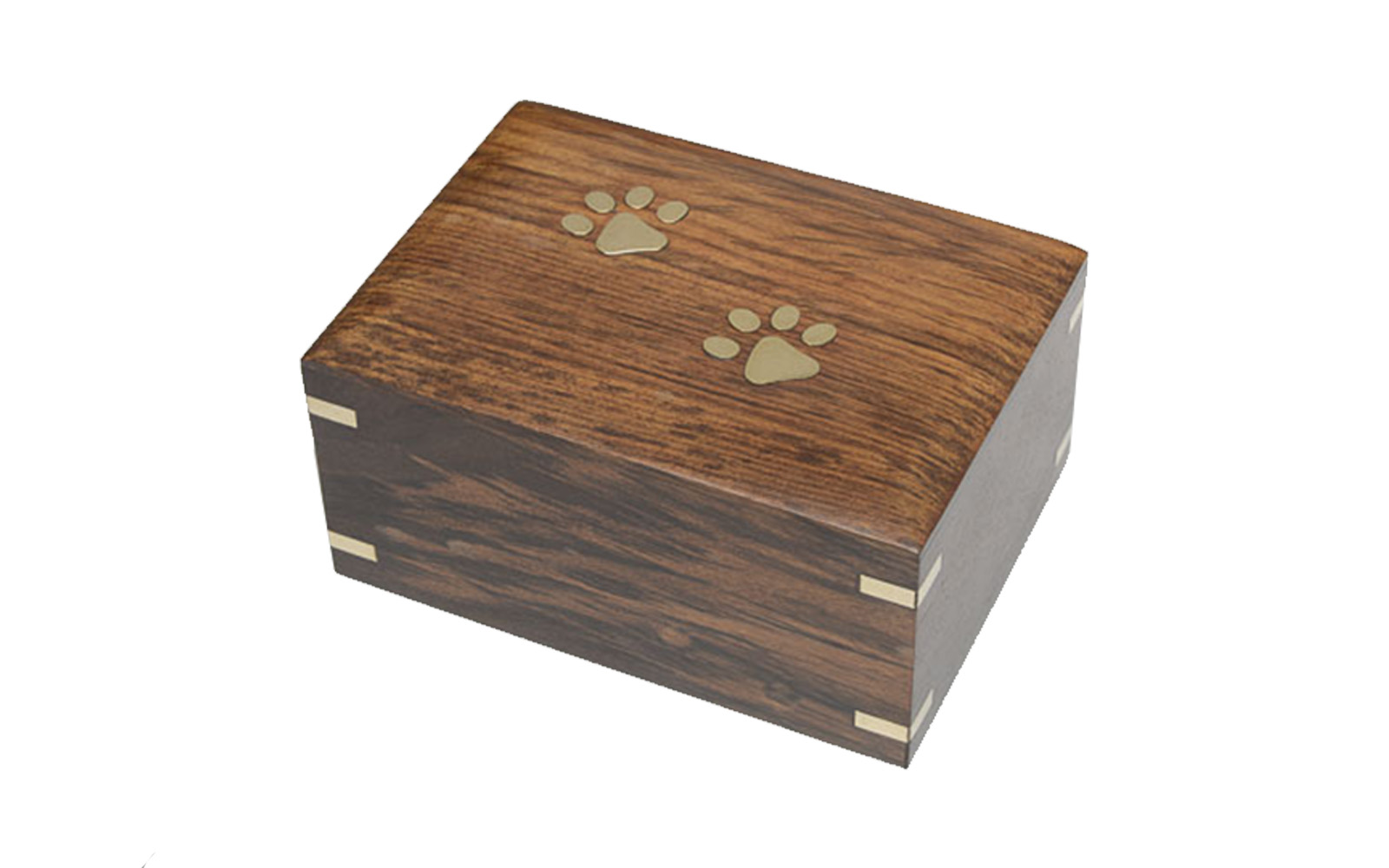 "Brass Paw   This wooden urn comes with beautiful hand inlaid brass accents and opens from the bottom.  Measures: 7.25""L x 5.4""D x 3.75""H, 70 Cu. Inches, up to 70 lbs.,  $115"