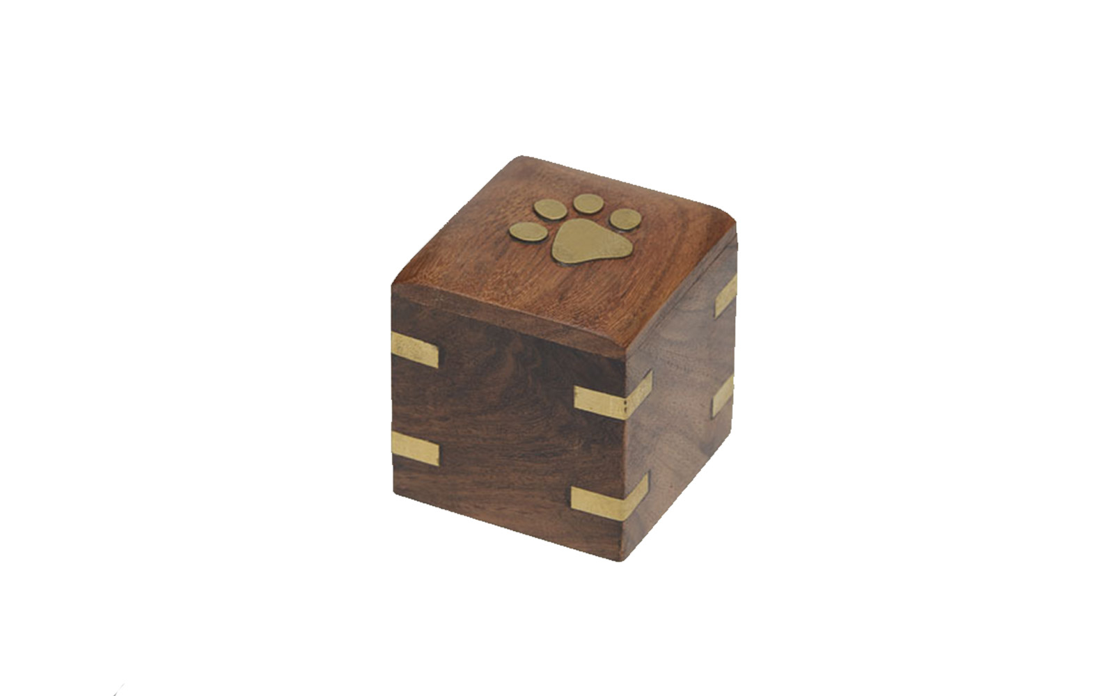 "Brass Paw Mini Keepsake   This wooden urn comes with beautiful hand inlaid brass accents and opens from the bottom.  Measures: 2""L x 2""D x 2""H, 1.5 Cu. Inches, up to 1.5 lbs.,  $35"