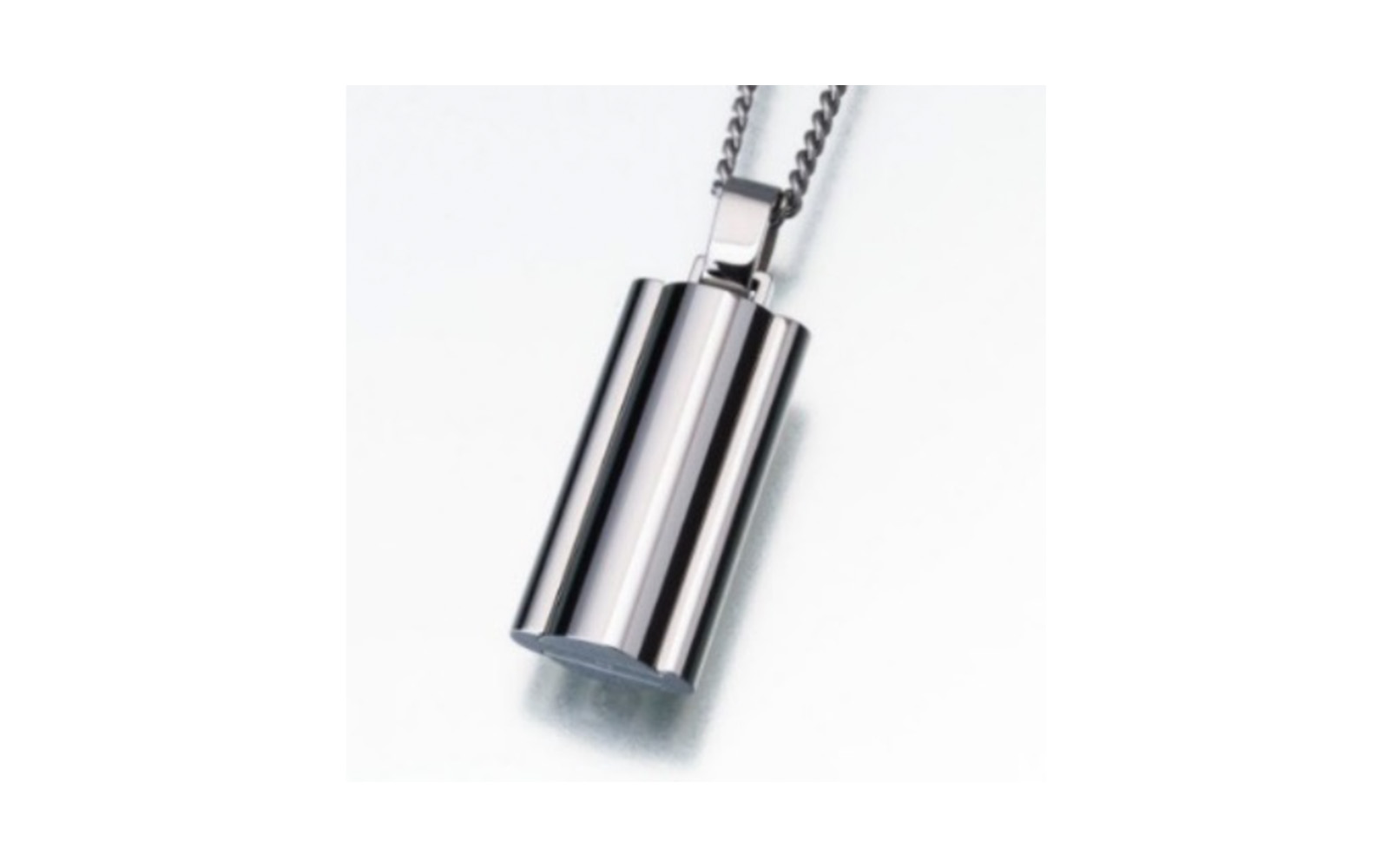 """Stainless Steel Narrow Flask Urn Pendant w/Chain   This pendant measures 15/16""""H and 1/2""""W and comes with a stainless steel 24"""" chain. Has a threaded opening to allow you to fill with ashes or hair of your beloved pet.  $395"""