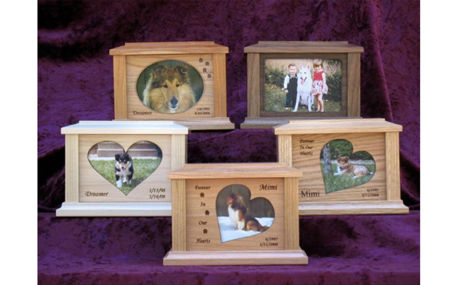 Natural Wood Photo Frame Urns   These picture frame urns are made out of solid north American hardwoods. They are available in walnut, cherry, maple, or oak. These urns do not come stained, but have a clear wood finish to show their natural beauty. The face frames of these urns slide to the side and pop out allowing you to place the photo of your beloved pet behind the glass also covering the screws and the cover plate which cover the remains of your pet.  Standard urn comes with a squared frame without laser engraving. Or you can select a heart, slanted heart, or an oval frame for your urn with laser engraving up to 3 corners as shown in the pictures for an additional $25  These urns come in Small (30 Cubic Inches), Medium (70 Cubic Inches), and Large (120 Cubic Inches) sizes.  Prices range from $95 to $145  depending upon the size and wood type you select.