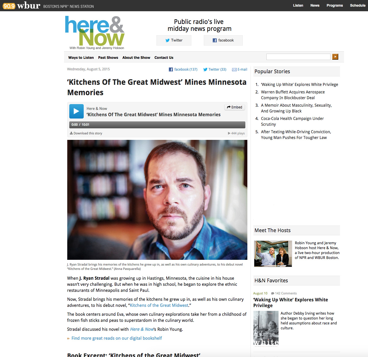 """Listen to an interview with Robin Young of NPR's """"Here and Now."""""""