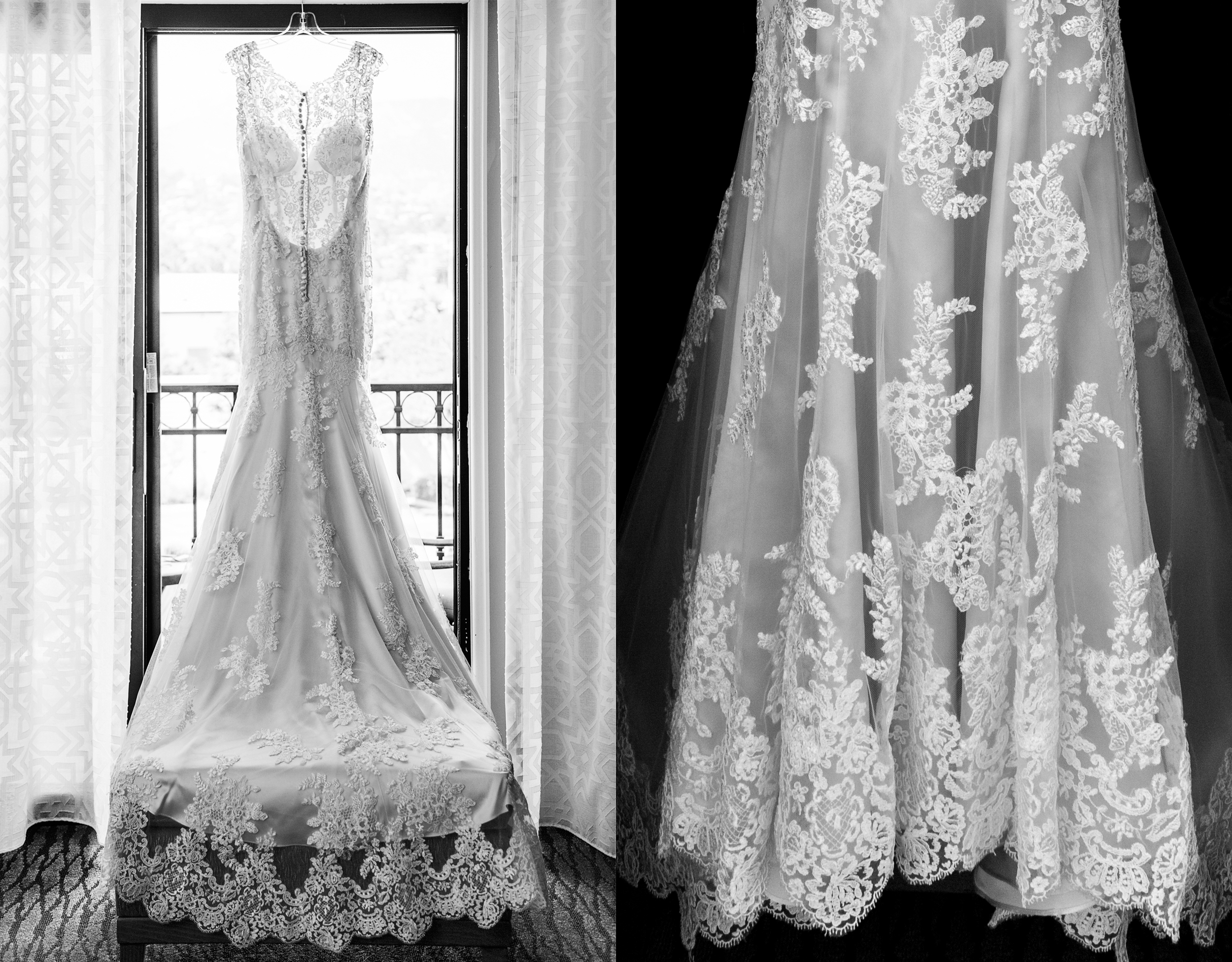 Wedding Dress Details Black and White