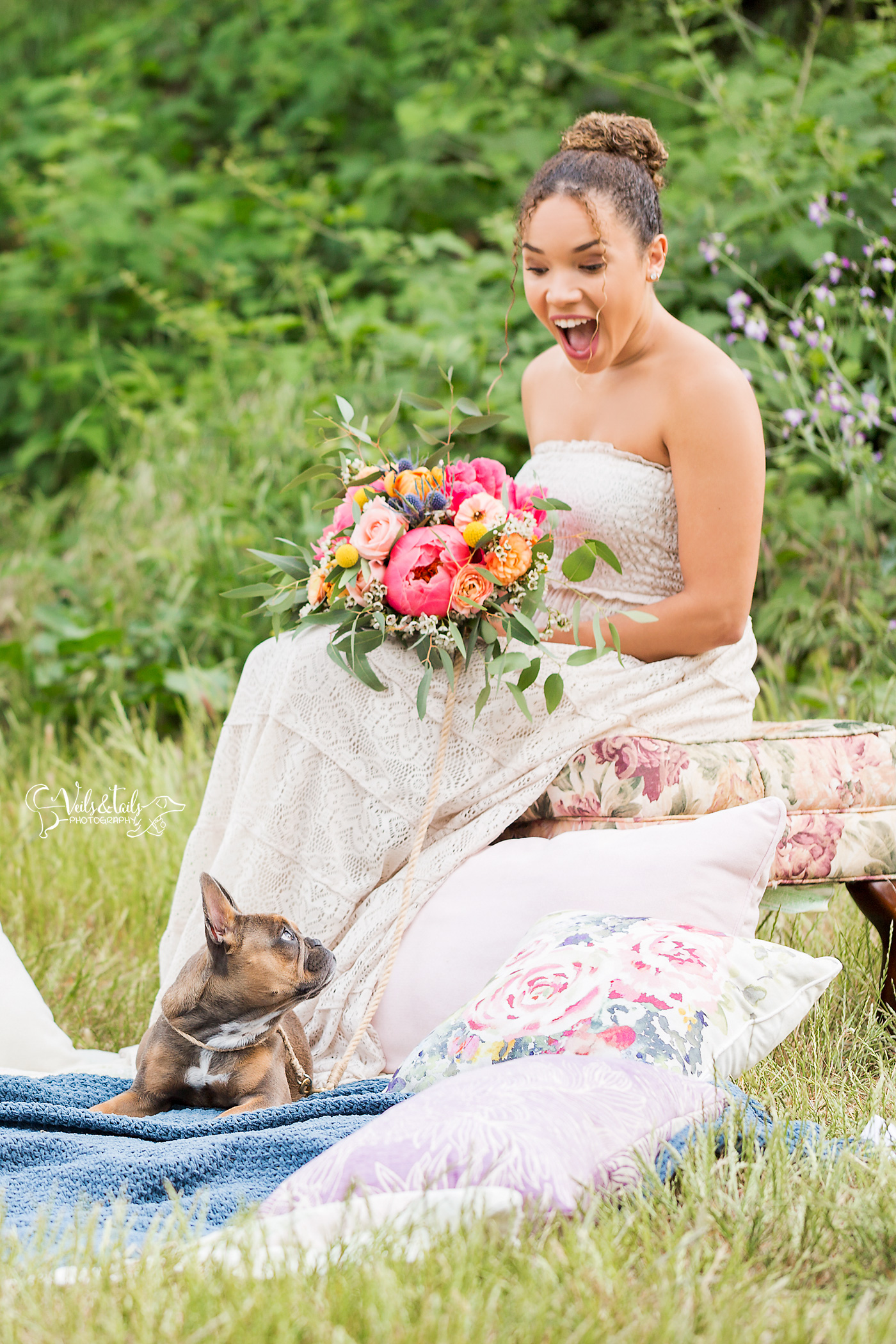 Bride with Dog in wedding