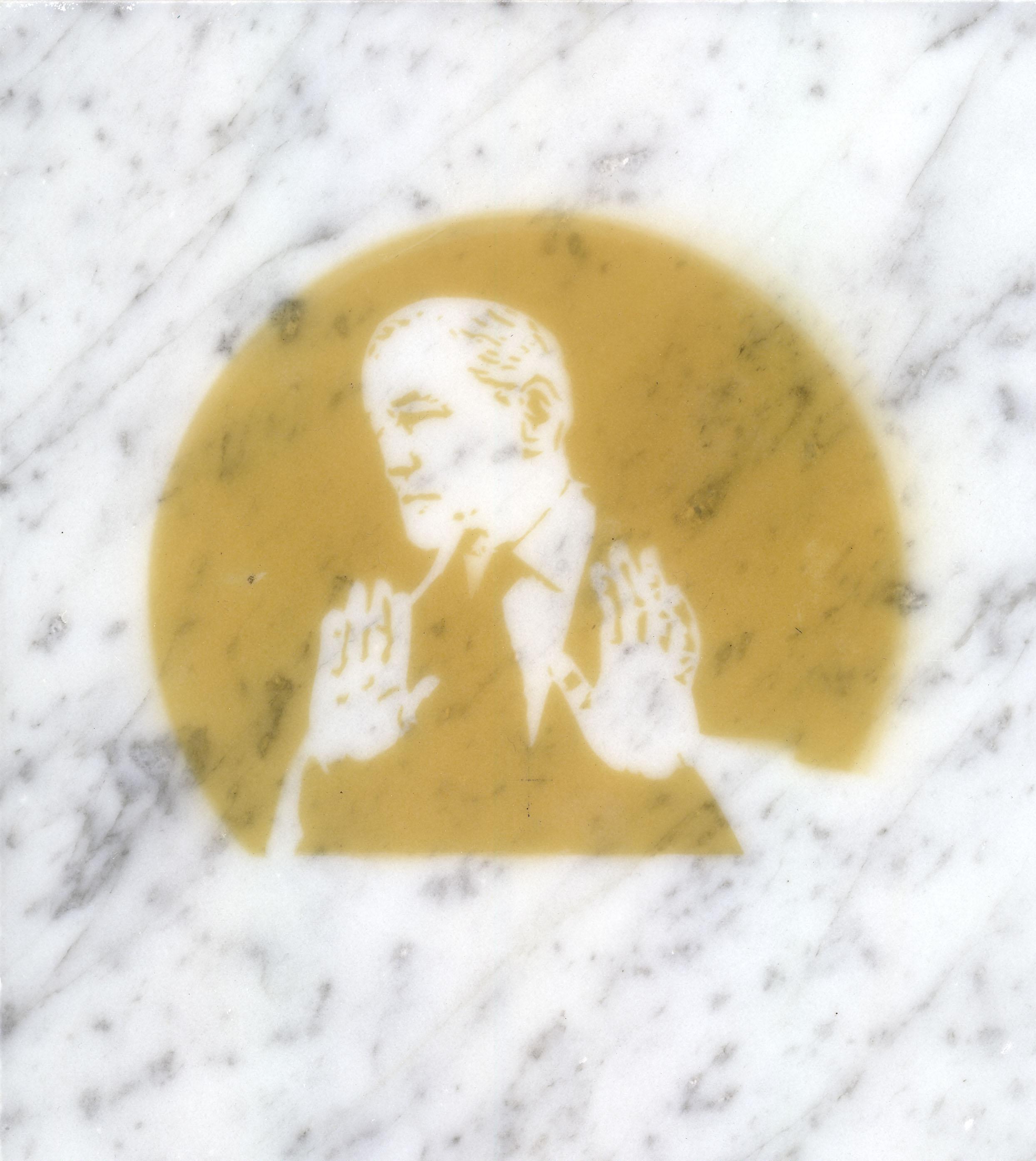 $ick Men  (Conrad Black), incense smoke oil on marble, 2013.