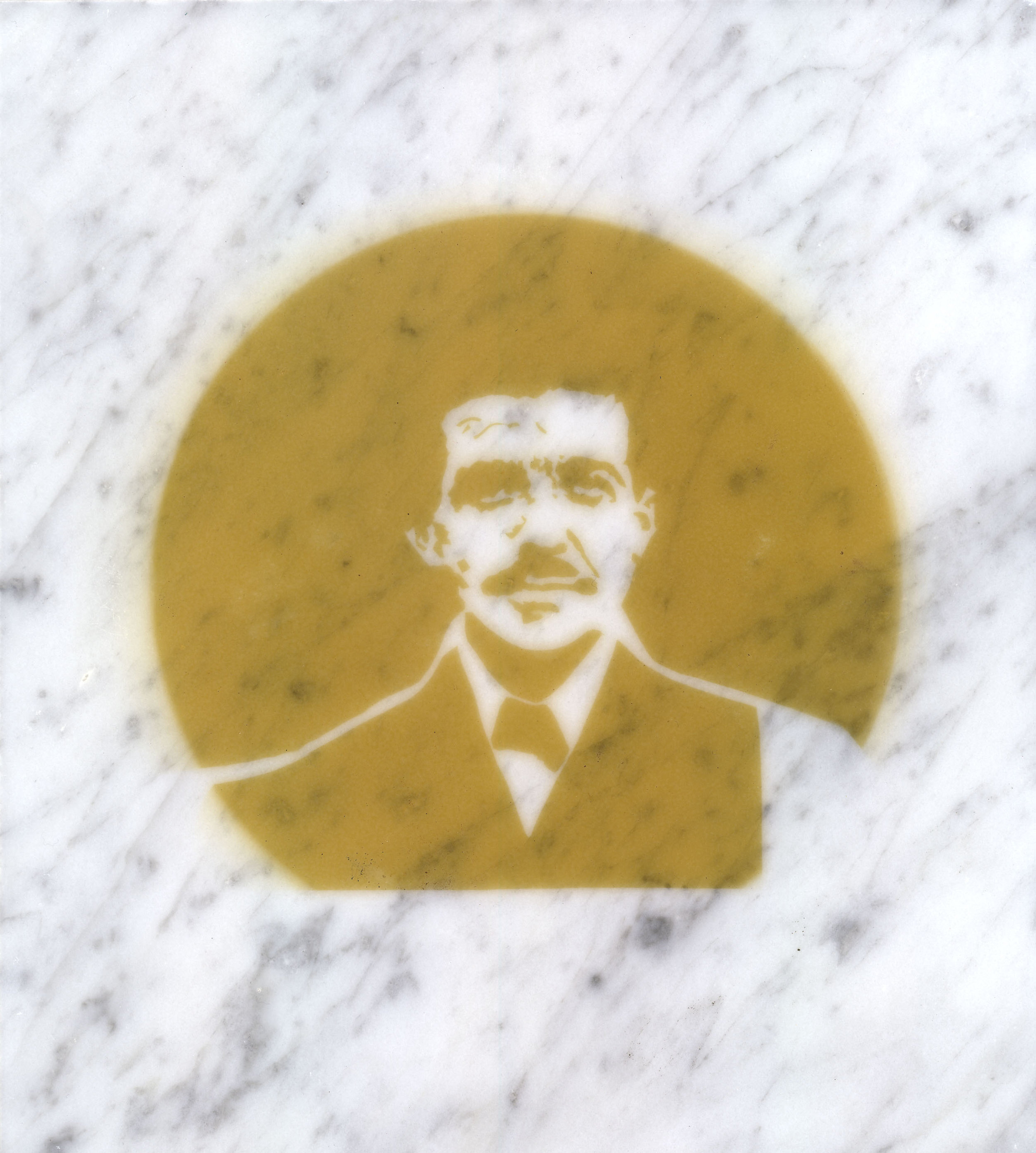 $ick Men  (Carols Ponzi), incense smoke oil on marble, 2013.
