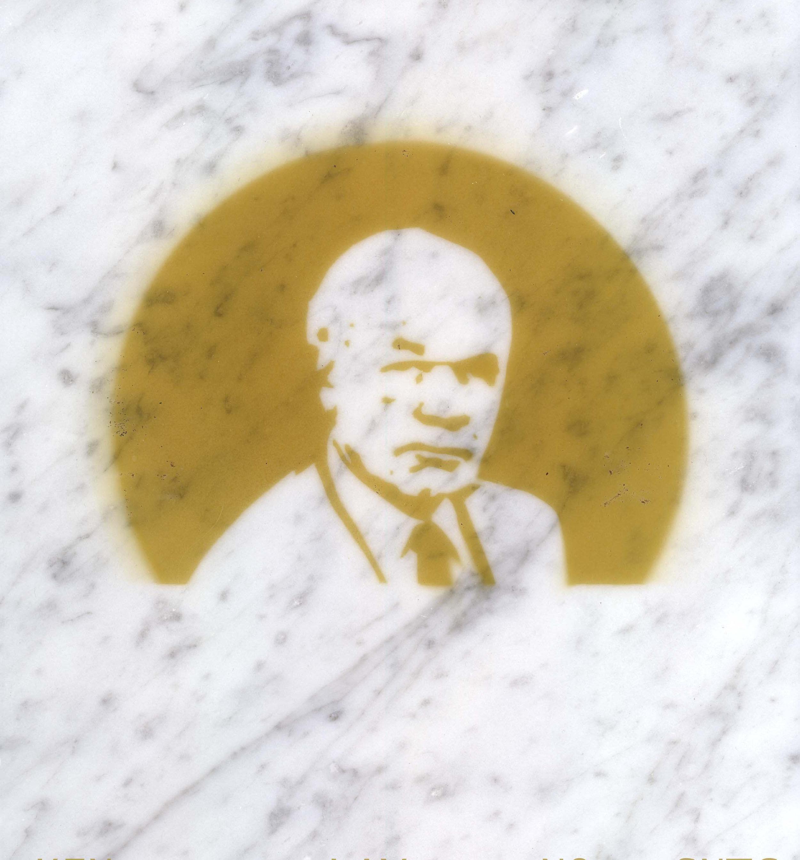 $ick Men  (Ken Lay), incense smoke oil on marble, 2013.