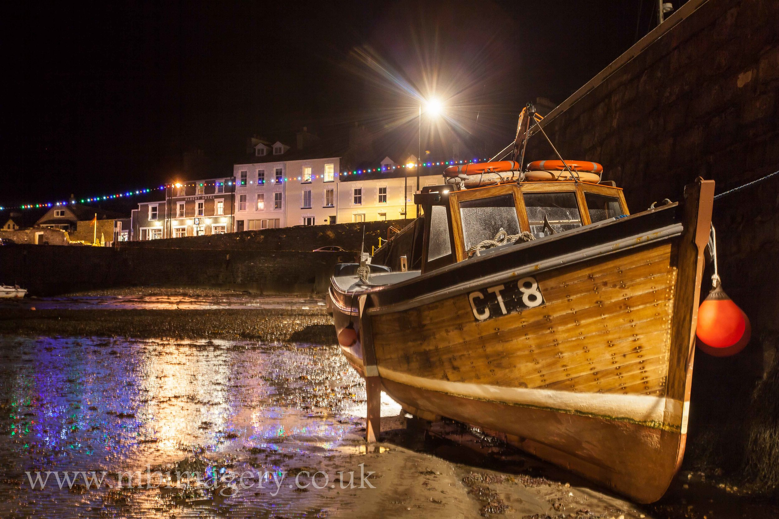 Port St Mary Harbour by Night.