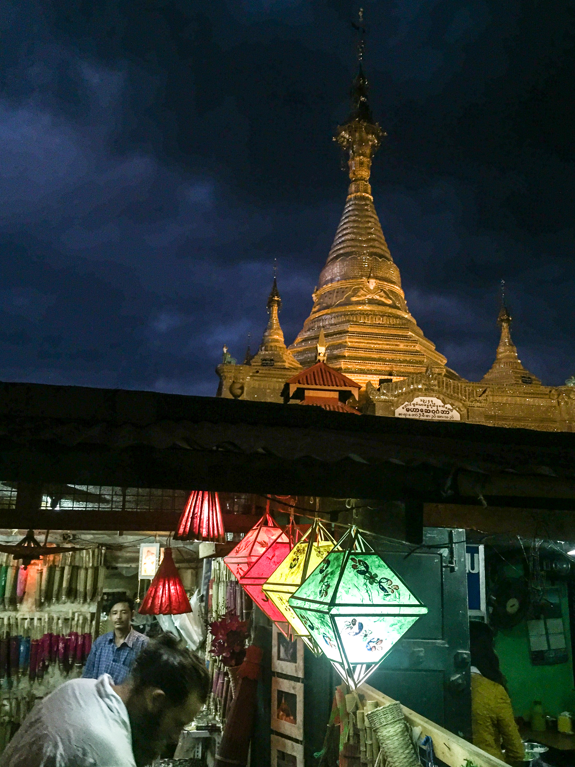 Working on the edge of the pagoda.
