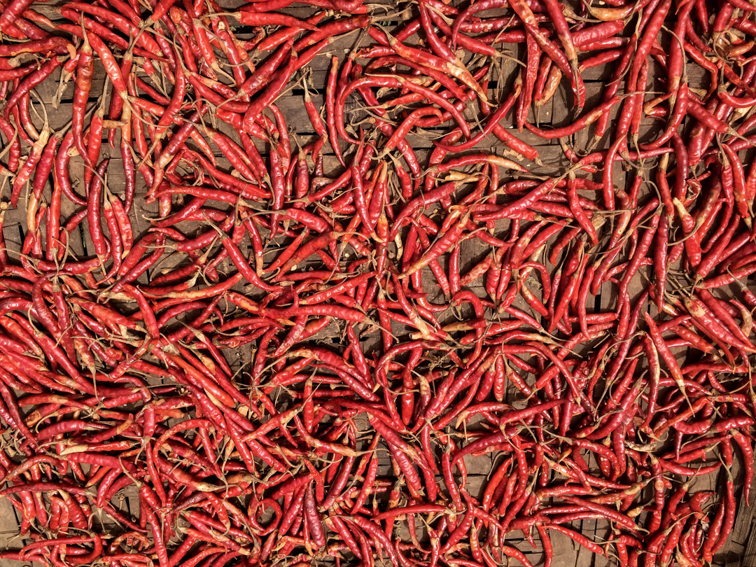Everywhere chillies were drying in the sun.... Hot.... and hot.