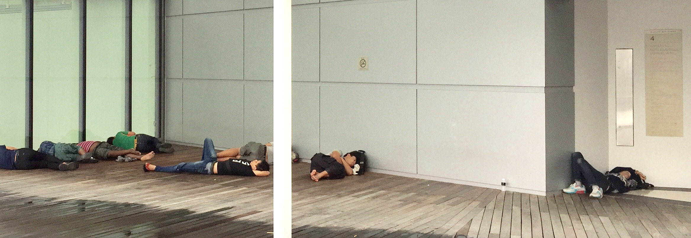 Employees or just general public sleeping on the roof area... Surprising...