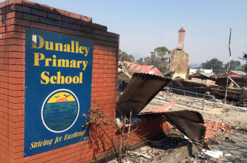 Dunalley Primary destroyed by fire