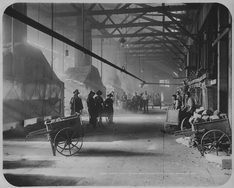 'Feed floor' of Mt Lyell smelters (photo courtesy National Library of Australia)
