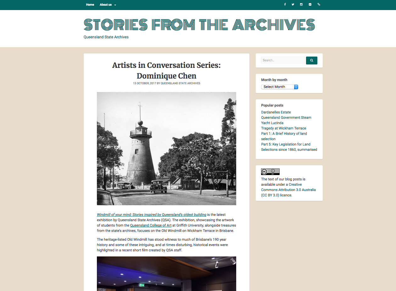 Artist interview with the QLD State Archives as part of their Stories From the Archives series.   https://blogs.archives.qld.gov.au/2017/10/13/artists-in-conversation-series-dominique-chen/   January 2018.