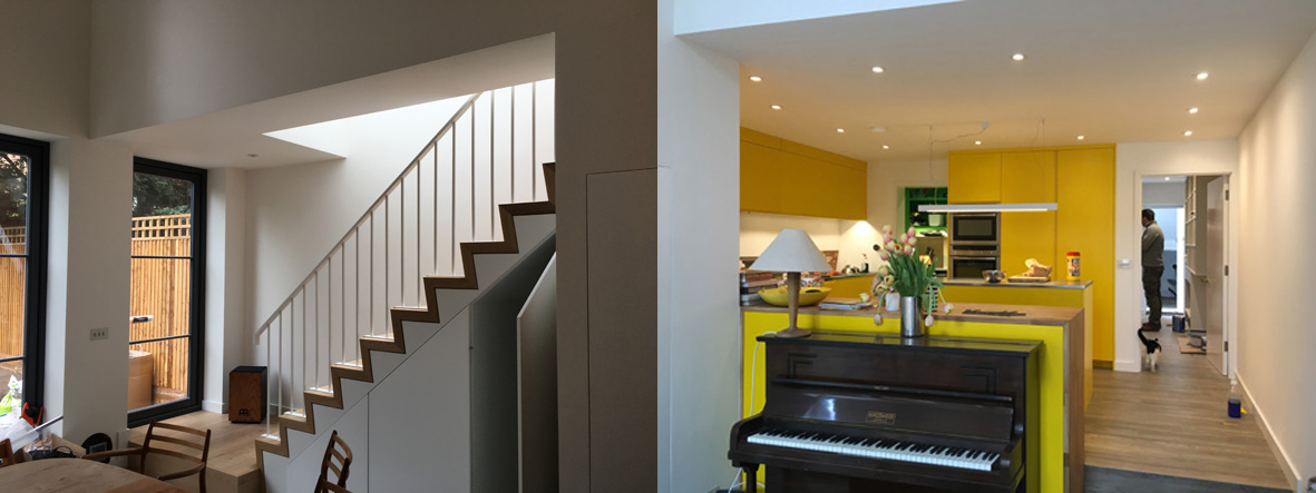 …..complete with new stair, double-height dining room and bright yellow kitchen