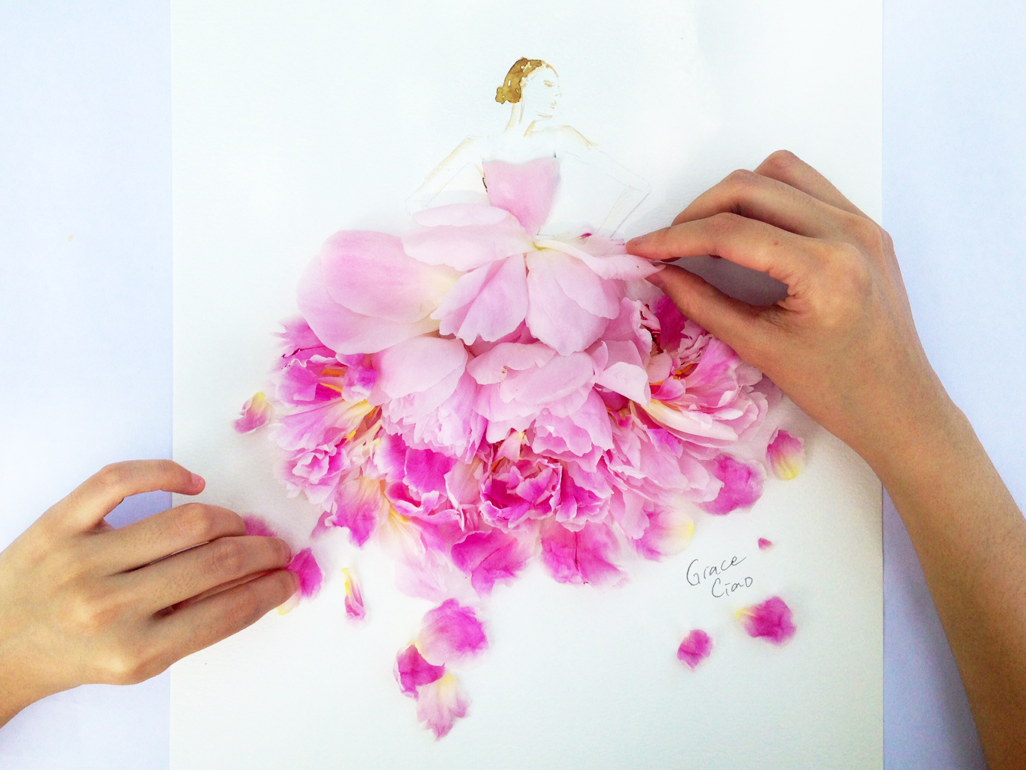 Floral Couture in Progress.  Photo Credits:  HappyPhotoPeople