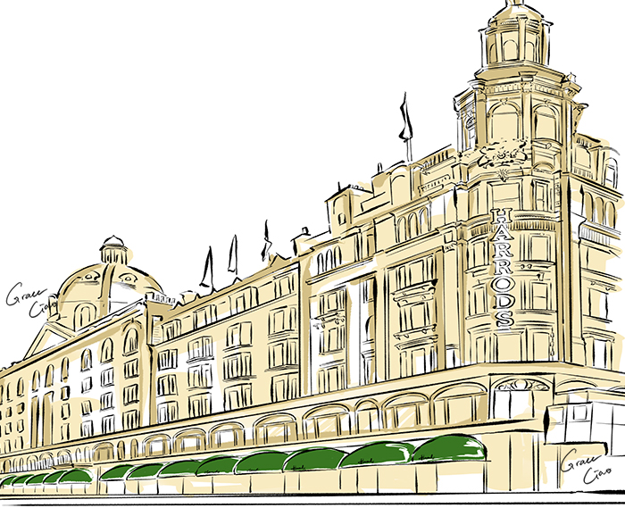 - They are convenient one-stop shopping solutions that stock multiple luxury brands. Independent local brands also prove to be a delightful and more exclusive find in these stores, such as Aspinal of Londonthat specialises in handcrafted luxury leather goods.(Harrods illustration by me)