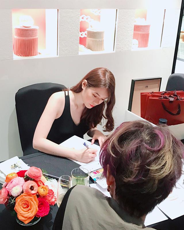 Exclusive On-site Fashion Illustration of Pomellato VIP customers wearing Pomellato jewellery
