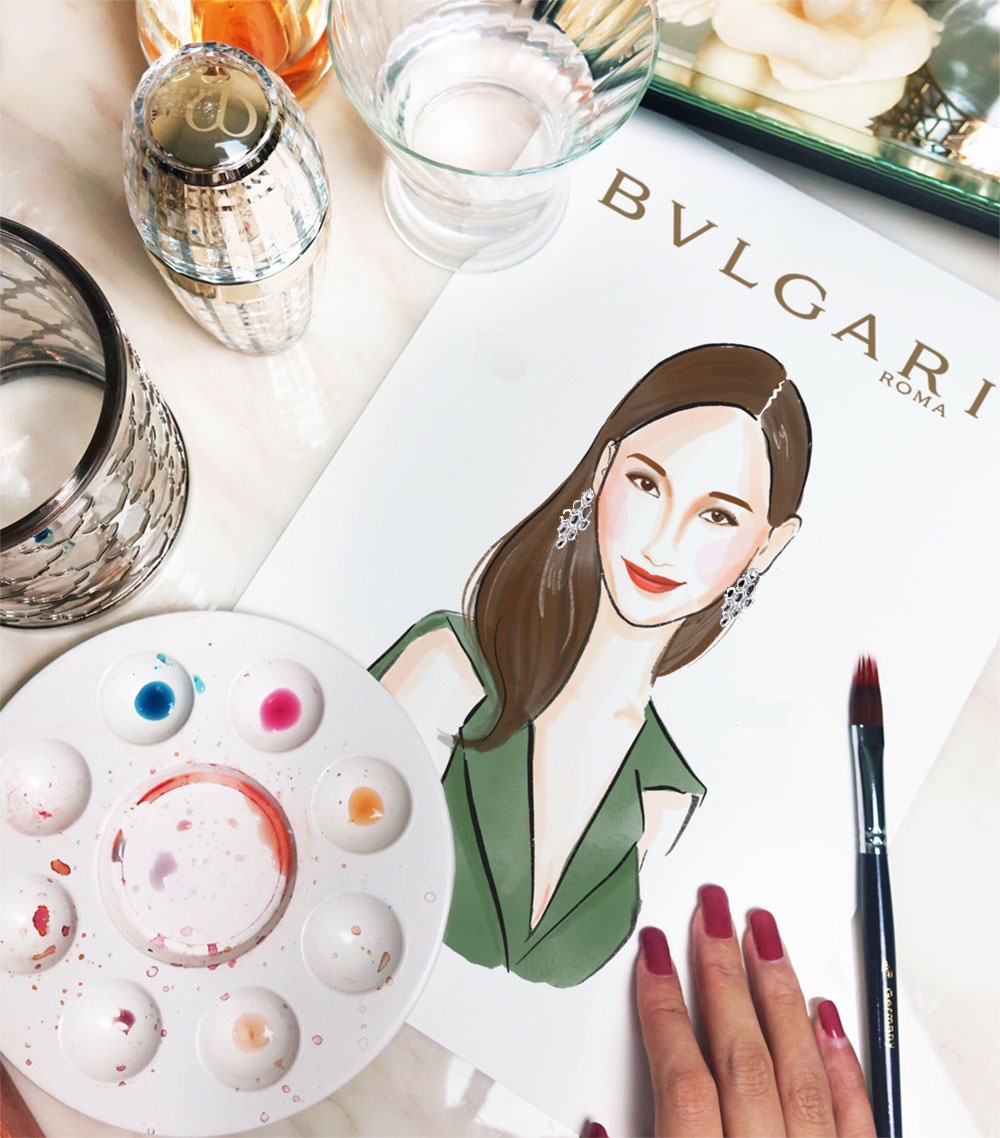 Commissioned illustration for VIP Client wearing Bulgari jewellery