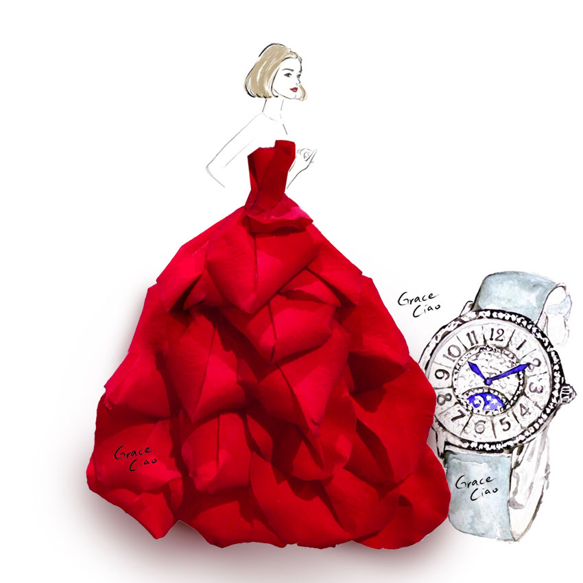Using rose petals, I created a resplendent gown to pair with the beautifully crafted Rendez-Vous Night & Day watch.