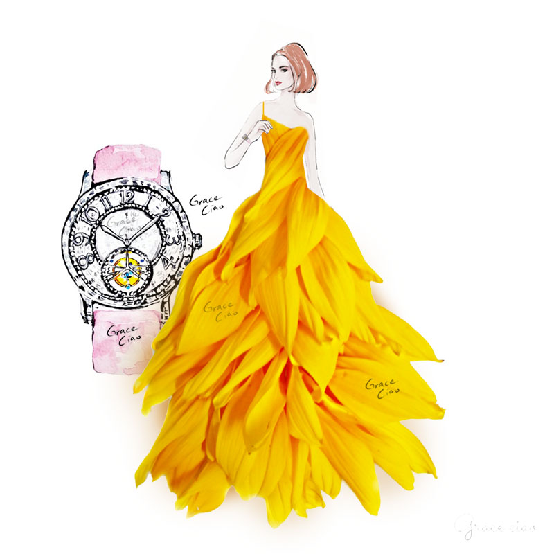 Exemplifying gifts of radiance and warmth, the sunflower dress perfectly complements the boldness of the round-faced Rendez-Vous watches.