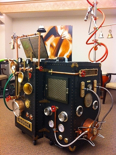 St. Louis Symphony Orchestra (2011) Mozart's THE TOY SYMPHONY The portable sound laboratory (a steampunk, Jules Verne-inspired, neo-Victorian prop) designed and built by Sara Valentine.