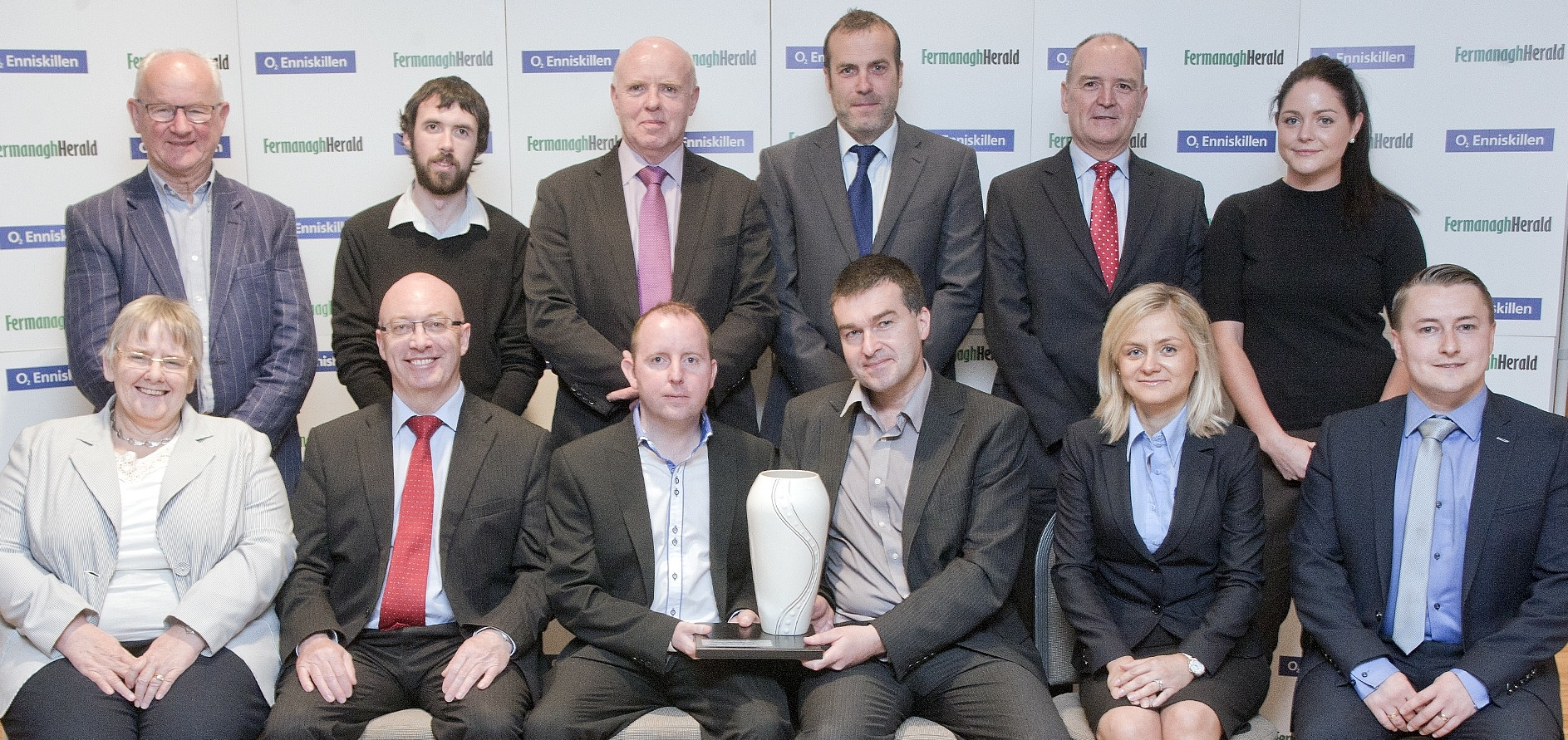 the launch of the 2015 Fermanagh Herald Business Awards (back row L-R): Ernie Fisher, The Fermanagh Trust; Conan Cox, 02 Enniskillen; Tom McBride, South West College; Sean Darcy, First Trust Bank; Michael Molloy, Cavanagh Kelly Chartered Accountants; Stephanie Dooris, Pizza Hut Delivery. (Front row L-R): Cllr Rosemary Barton, Vice Chair of Fermanagh Lakeland Tourism; Cllr Thomas O'Reilly, Chair of Fermanagh & Omagh District Council; Declan Devlin, 02 Enniskillen; Maurice Kennedy, Fermanagh Herald editor; Agnieszka Szczepanek, 02 Enniskillen and Darwin Allen, GDP Partnership.